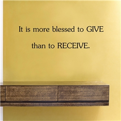 It is more blessed to give