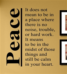 Peace It Does Not Mean To Be In A Place Where There Is No