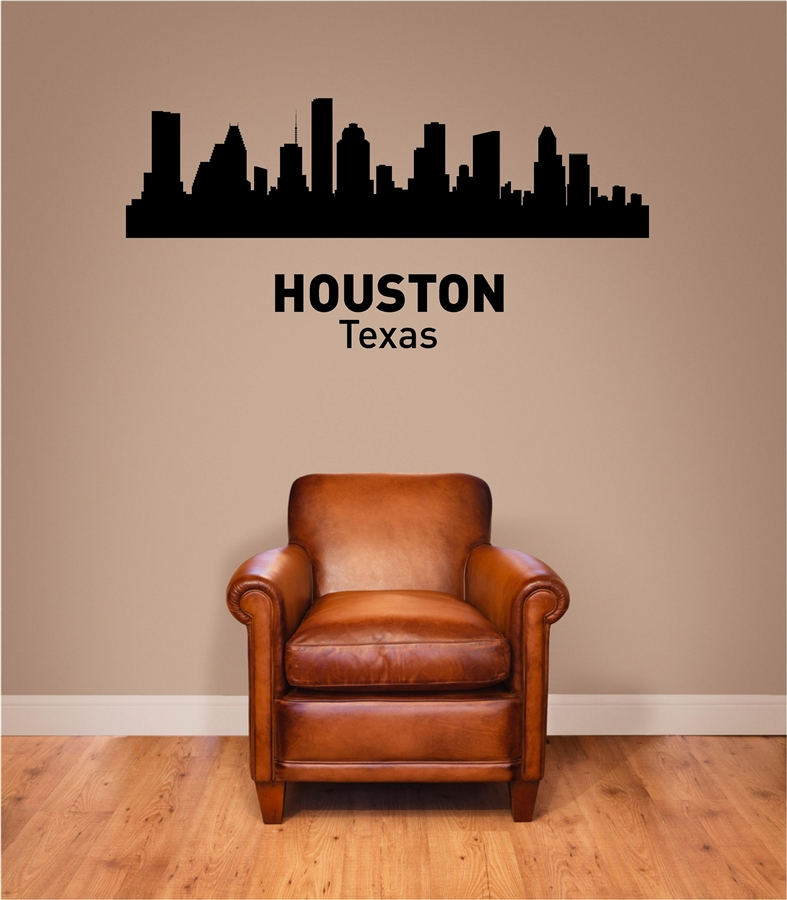 HOUSTON Texas City Skyline Vinyl Wall Art Decal Sticker
